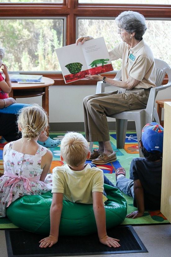 Kids listening to a story being read during storytime at San Elijo Lagoon Nature Center