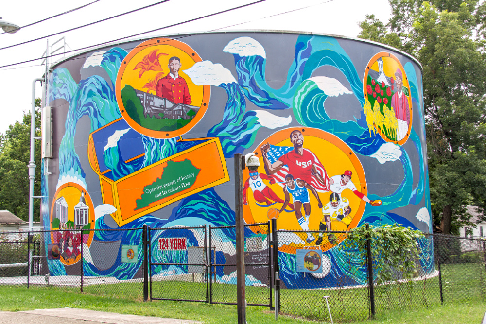 The mural on the York Street water tank by Lennon Michalski and Keeton Young.