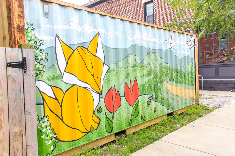 fox container mural by The Art of Joe King at Broomwagon Bikes and Cafe in Lexington