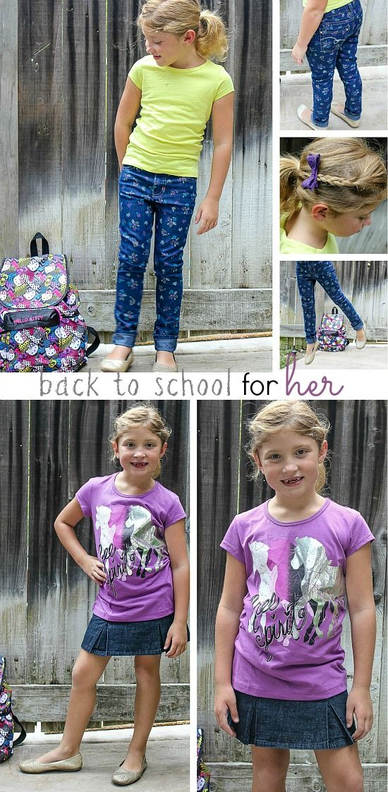 a collage of back to school outfits for girls