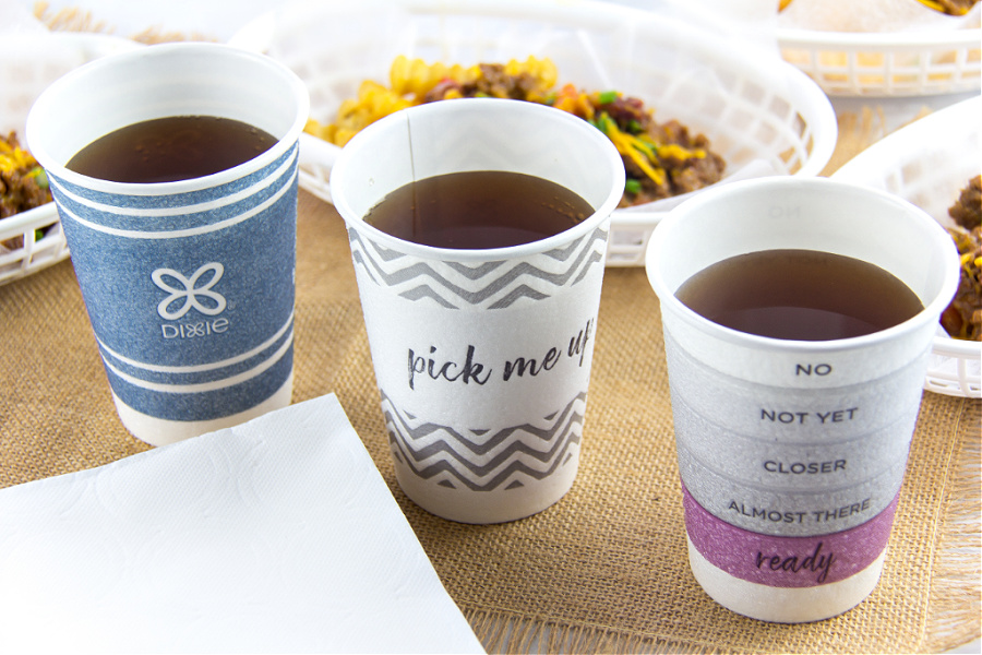 Dixie to-go cups with fun sayings on them.