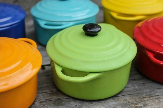 mini baking casserole dishes in bright colors from createologie