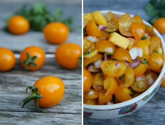 small yellow heirloom tomatoes being used in a mango and yellow tomato salsa