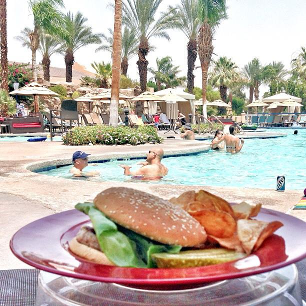 Poolside lunch at Westin Mission Hills Resort in Palm Springs