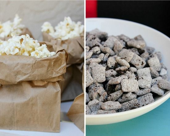 popcorn in brown paper bags and Oreo puppy chow for movie night