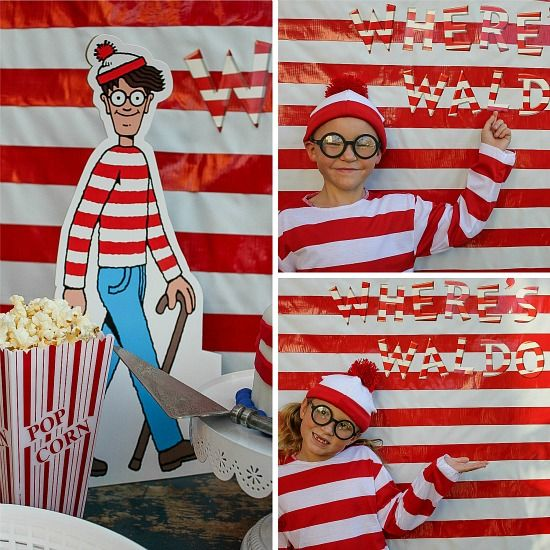 Kids wearing Where's Waldo costumes and having a themed party