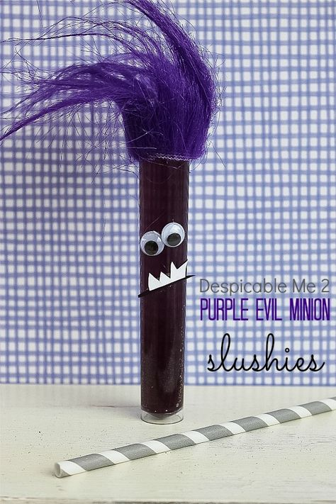 a purple slushie in a test tube made to look like a Despicable Me evil minion