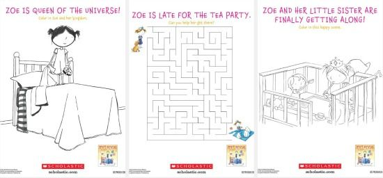 Zoe's Room No Sisters Allowed free printable coloring and activity pages