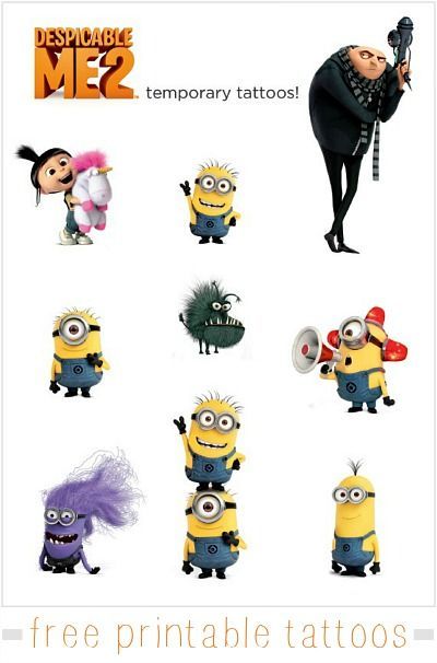despicable me tattoos that can be printed at home on tattoo paper