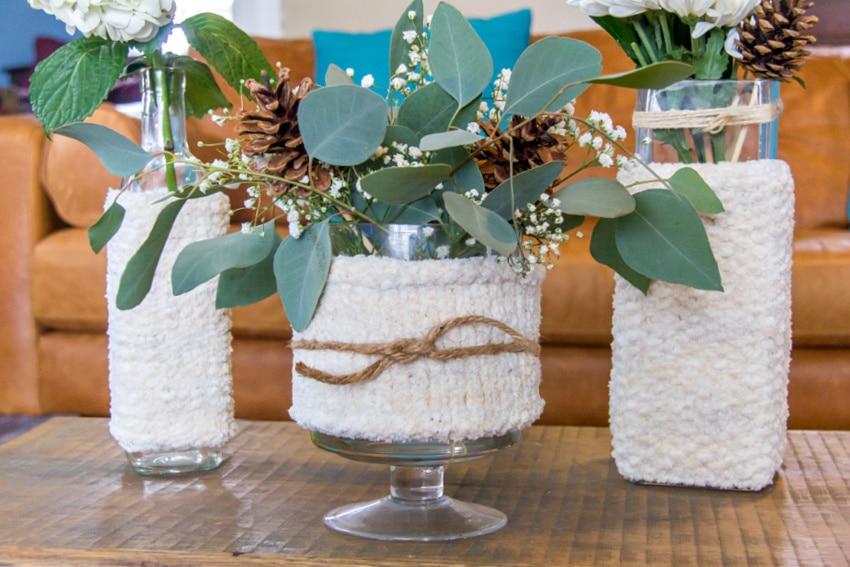 hand knit winter cozies for vases and winter vase arrangements