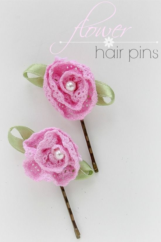 pink crochet flowers with a pearl center on a hair pin