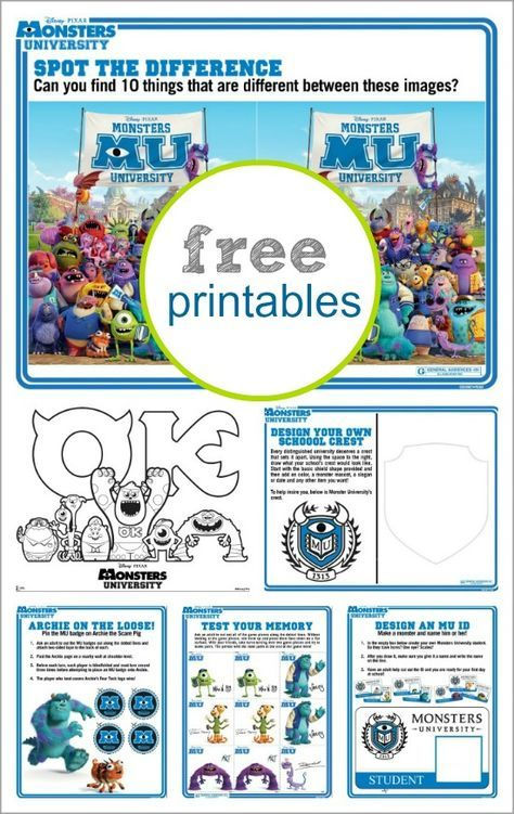 Monsters University collage of free printable coloring and activity pages for kids