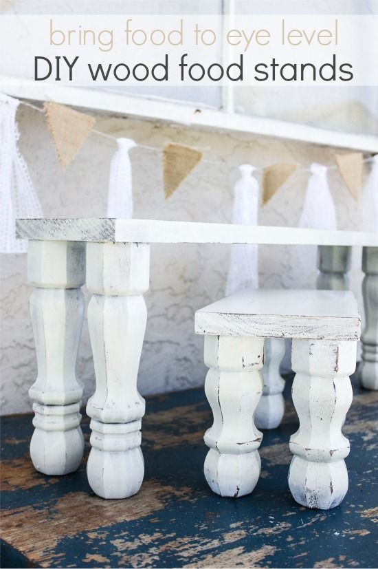 white shabby chic handmade pedestal stands for food tables