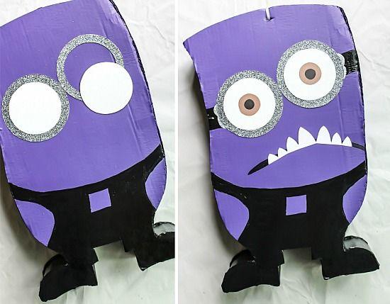 Instructions for making a purple evil minion pinata.