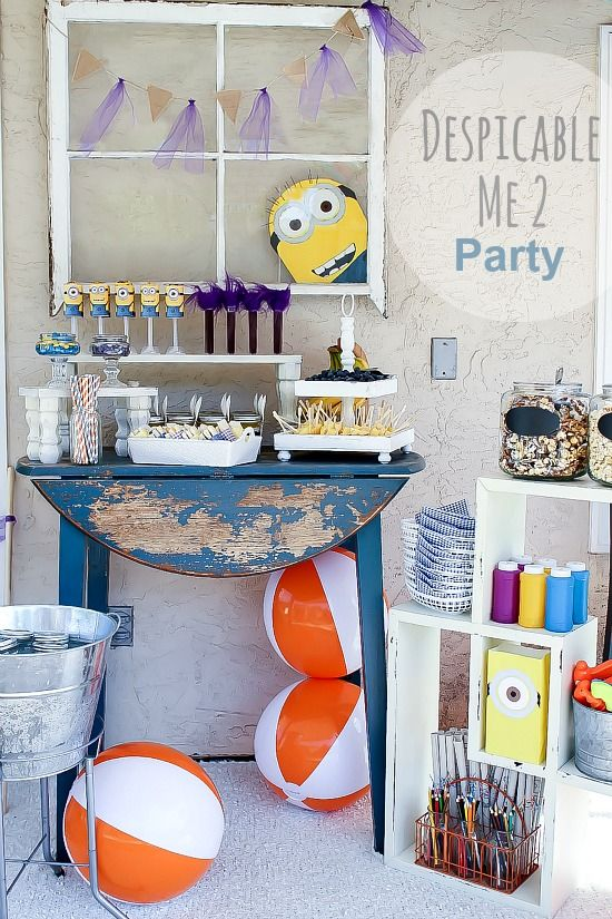 Despicable Me party food table, party favors, and other party ideas.