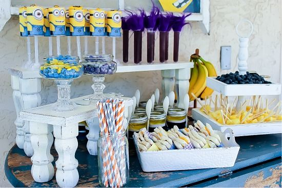 Minion themed party food on a table.
