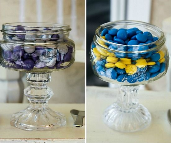 M&M's in glass pedestal jars in the colors of Minions.