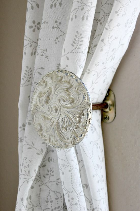 vintage inspired curtain holdbacks with a decorative end