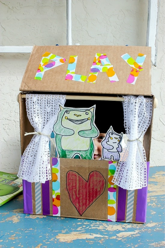 Homemade puppet theater for a fathers day play.