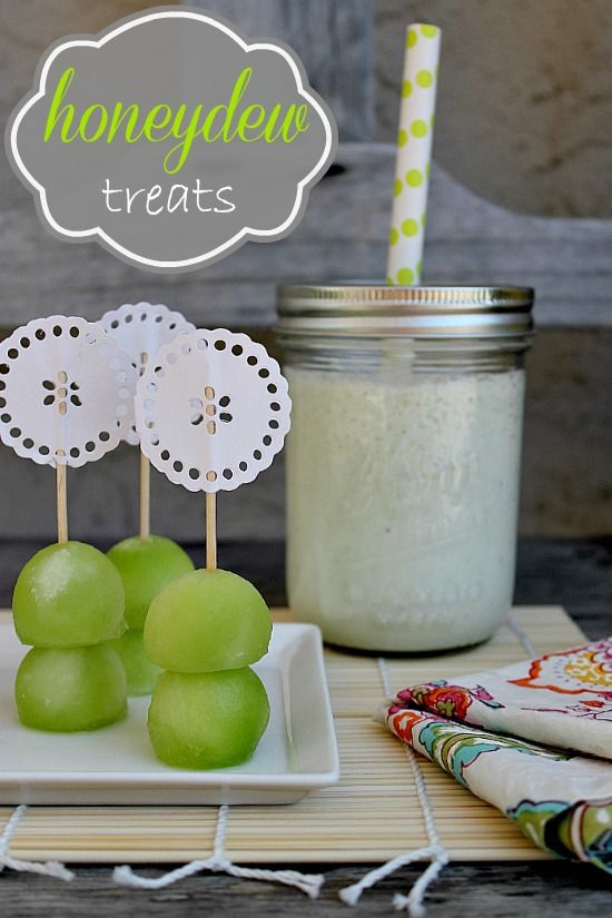 Honeydew melon smoothie and melon balls stacked with a toothpick.