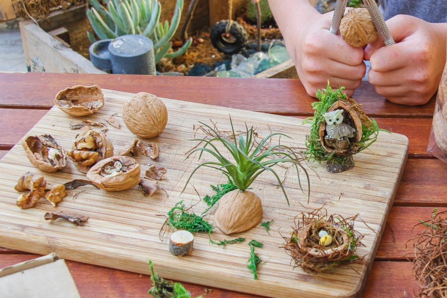Small fairy garden crafts made out of walnut shells.