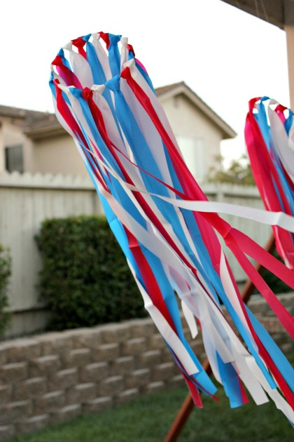 red, white, and blue 4th of July windsock craft for kids