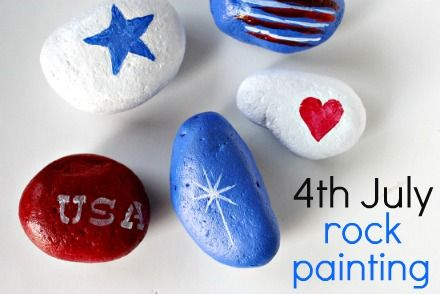 Red, white, and blue patriotic 4th of July rock painting project for kids.