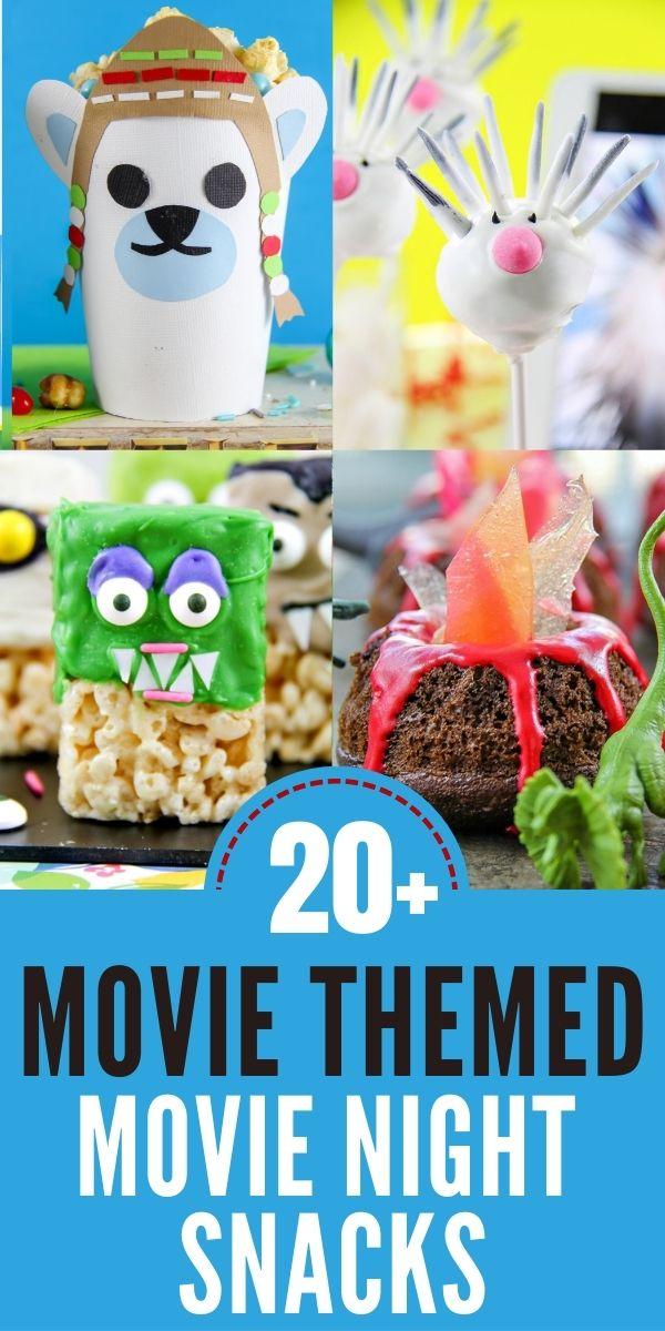 Movie themed movie night snacks Pinterest image