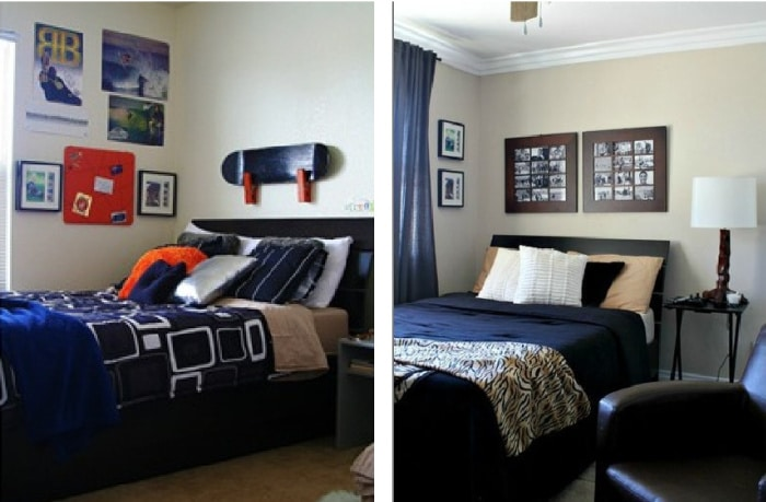 Before and after photos of a teen boy bedroom makeover.