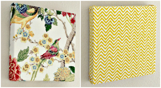 DIY wall art made with fabric napkins and a square canvas.