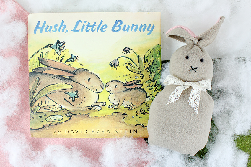 no sew bunny craft paired with the hush little bunny book for kids