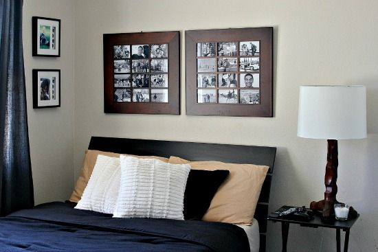 Teen boy bedroom decor and bedding black, white, taupe, and wood.