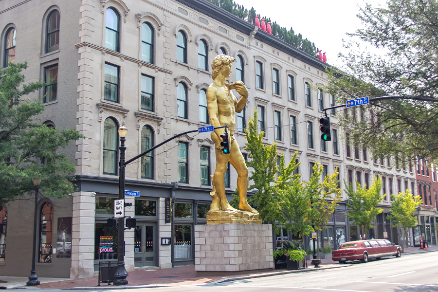 The gold replica of Michelangelo's David statue outside the 21C Museum Hotel in Louisville, Kentucky.