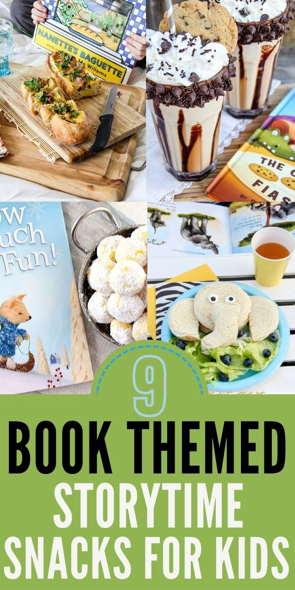 Book themed snacks and fun food for kids Pinterest image.