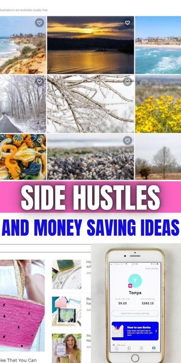 Side hustles and money saving ideas for sahm Pinterest image