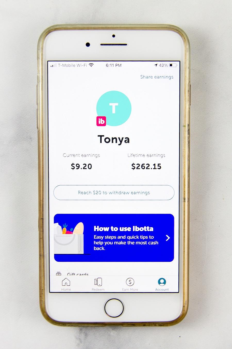 Cash back earnings through the Ibotta app.
