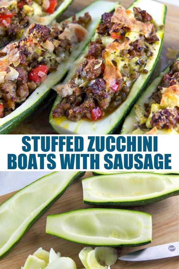 stuffed zucchini boats Pinterest image