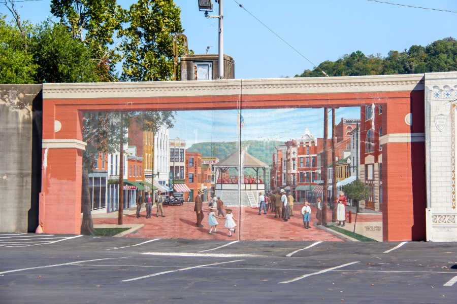 The Maysville floodwall mural project.