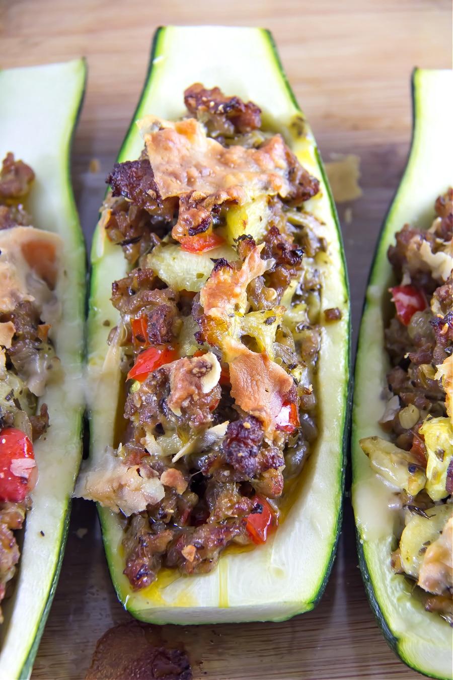 Zucchini boats recipe stuffed with mild Italian sausage.