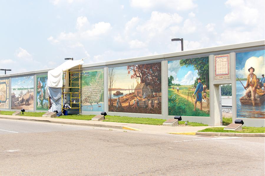 Wall to wall murals in Paducah Kentucky.