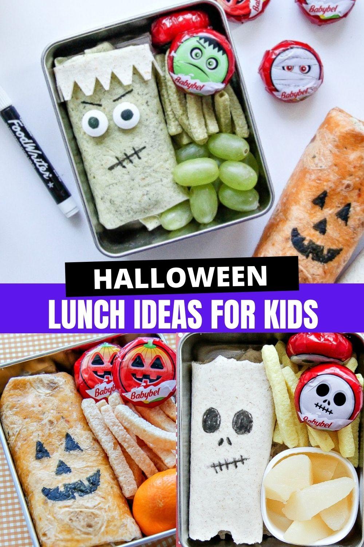 Halloween school lunch ideas for kids Pinterest image