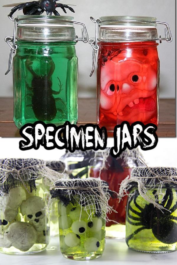 Halloween specimen jars Pinterest image