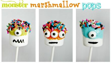monster marshmallow pops for a monster party