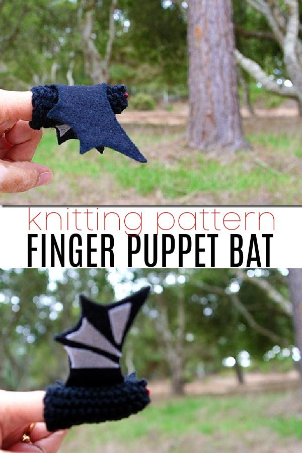 finger puppet bat knitting pattern Pinterest image
