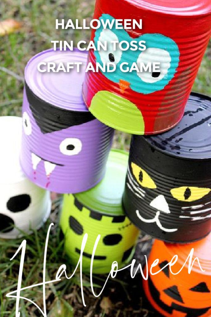 Kids Halloween craft tin can toss game Pinterest image