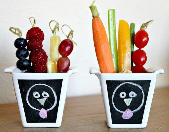 healthy turkey snack cups with vegetables and fruit for kids