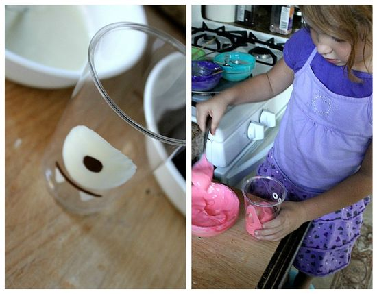 Pudding being made into different colors using food dye.