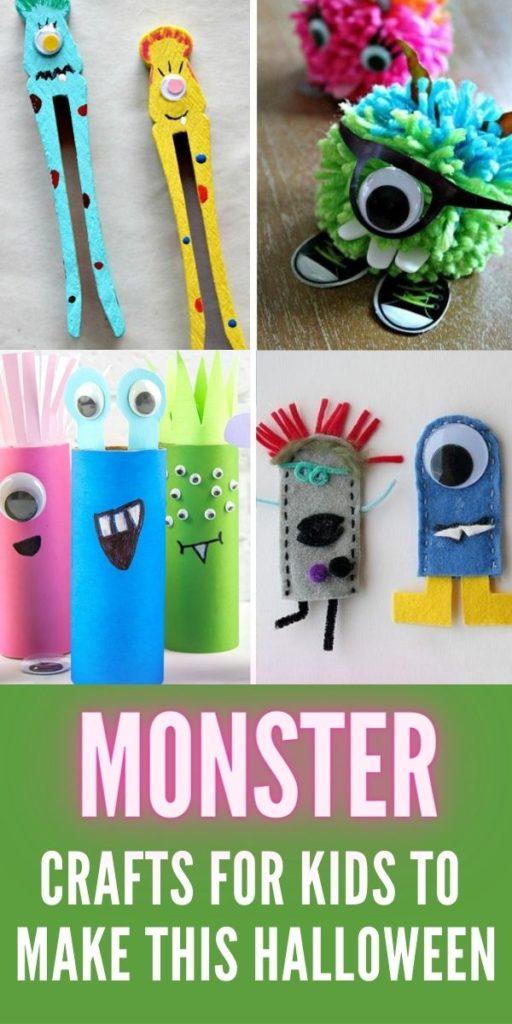 monster crafts for kids Pinterest image