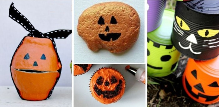 a collage of jack olantern food and craft ideas for Halloween