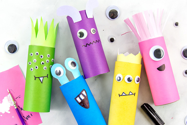 colorful toilet paper roll monster craft